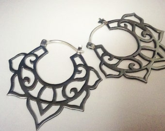 Black copper lotus earrings with sterling silver hooks