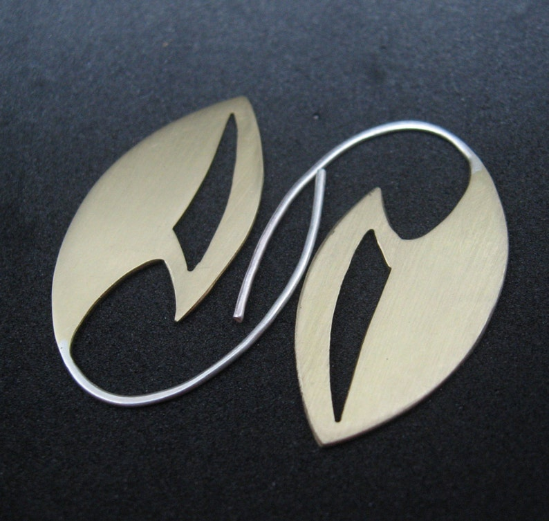Ambassador brass and sterling silver earrings star trek image 0