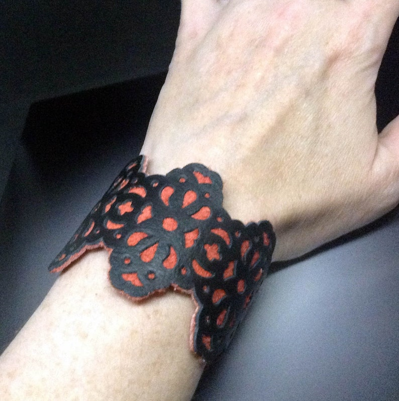 Brigitta Black and Red leather cuff bracelet with filigree image 0