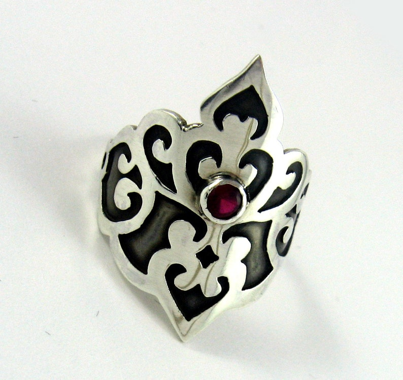 Victorian scrollwork princess ring in synthetic ruby and image 0