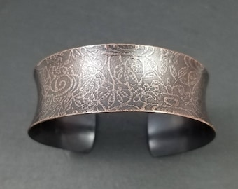 Katagami patterned anticlastic copper cuff with caramel and chocolate patina