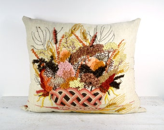 Vintage 70's Crewel Embroidered Pillow
