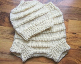 Hand Knitted Wool Diaper Cover with matching Hat Baby Diaper Cover Wool Baby Soaker Cloth diaper MADE TO ORDER