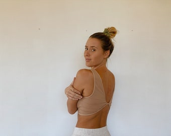 Reversible Ribbed Knit Crop Top Nude