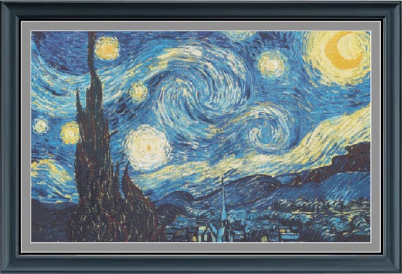 Starry Starry Night Impressionist Vincent Van Gogh Counted Cross Stitch Pattern