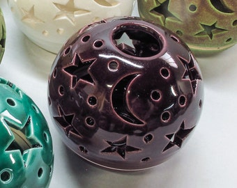 Stars and Moon candle holder, Purple Lantern, Wedding gift for the couple, bridesmaid gift BlueRoomPottery Ceramic luminary candleholder