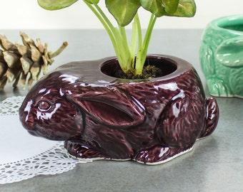 Purple rabbit succulent planter, ceramic indoors planter, Easter decor, handmade ceramics pottery plant pot, mini Planters desk decor