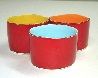 Red Ceramic candle holder, votive holder, handmade pottery candleholders, Minimal Modern Wedding Favor Rustic Christmas Decor, Gift under 25