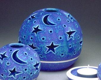 Outdoor lantern USA July 4th handmade Modern Patio Garden Home Decor luminary Ceramic Pottery Tealight Candle holder Star Moon Blue purple