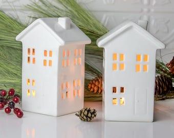 Modern White House Candle Holder, mantel Decor, Handmade Ceramic lantern centerpiece luminary Wedding gift - 1 house
