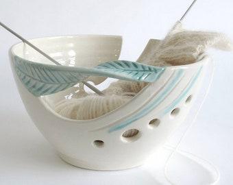 White Yarn bowl, Knitting yarn bowl, Custom Personalized knitter gift, Crochet Ceramic organizer green leaf handle bowls MADE TO ORDER