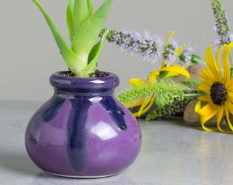 Mini Succulent planter Amethyst purple Blue modern ceramic planters cactus Home desk decor Handmade pottery wedding decorations gifts