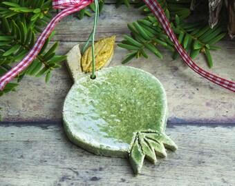 Green pomegranate ceramic hanging ornament, Rustic Decorations, Christmas tree Holiday Decor Good Luck charm, Woodland Decor, Hostess Gift