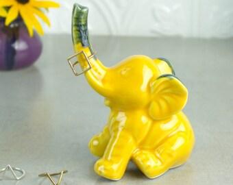 Elephant ring holder Lucky Elephant yellow jewelry Ceramic Ring Holder handmade pottery Elephant Decor unique gift for her under 25
