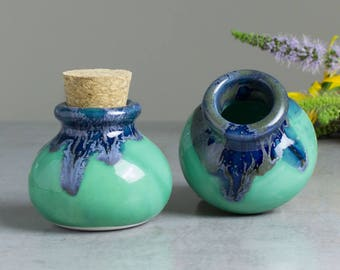 Ceramic jar with cork lid Mint Green Blue small spice jars Kitchen Gifts Home Decor Handmade Pottery herb bottle gift for mom for chef
