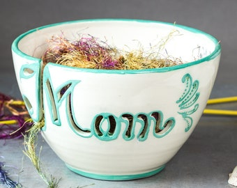 Personalized Mom Yarn bowl Knitting bowl Mother's gift Unique One of A Kind Crochet Knit Ceramic White with Mint green letters In STOCK