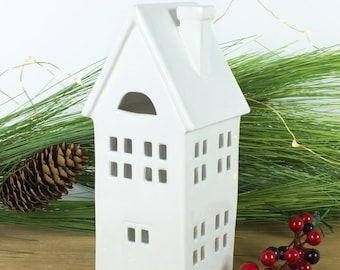 White Candle Holder, Ceramic lantern luminary, Modern Home gifts, slim chalet Putz House, Mantel Decor, Hostess Gift, Newly wed gifts