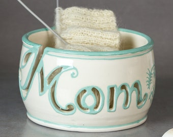 In STOCK Personalized Yarn bowl Knitting bowl MOM gift Unique OOAK Custom Crochet Ceramic bowls White organizer Mint letters