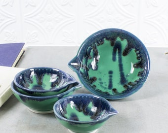 Ceramic Measuring Cups Set 4 Mint Green Blue Drips Nesting Prep Bowls, Kitchen Serving Home Decor Handmade Pottery