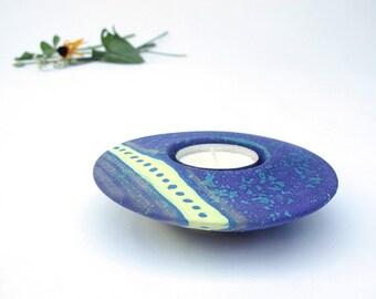 Ceramic Blue Purple Candleholder, UFO Votive Handmade Tea Light Holder Ring Plate wedding favor Home Decor Wee Plate