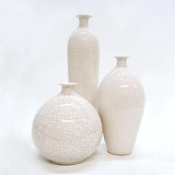 Trio White Vases Small Bud Vase Modern Minimal Ceramic Bottle Etsy