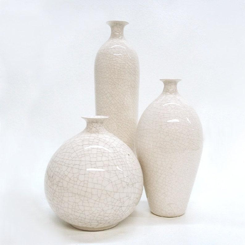 Trio White Vases Small Bud Vase Modern Minimal Ceramic Bottle