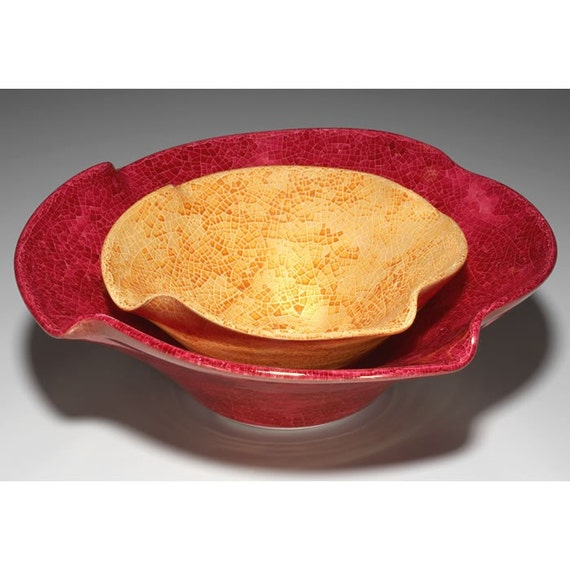Large Ceramic Fruit Bowl Holiday Decor Nesting Bowl Bright Etsy