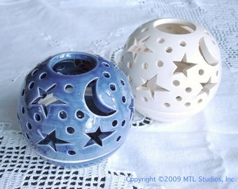Ceramic Candle Holder Votive holder Modern Home Decor Stars Moon White glaze gift Handmade ceramics pottery Round Candileria