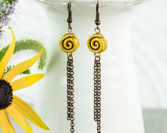 Yellow Spiral Dangle Earrings, Clay Bead copper chain tassel geometric Gift under 25 modern Boho jewelry