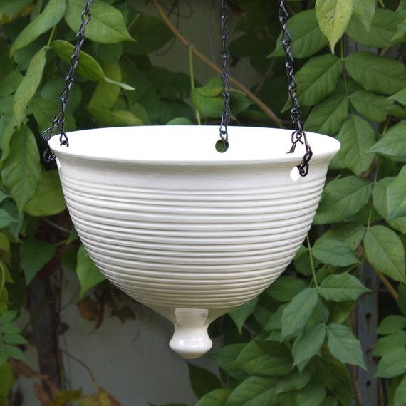 Ceramic Hanging Planter Large Modern White Pottery Hanging Etsy