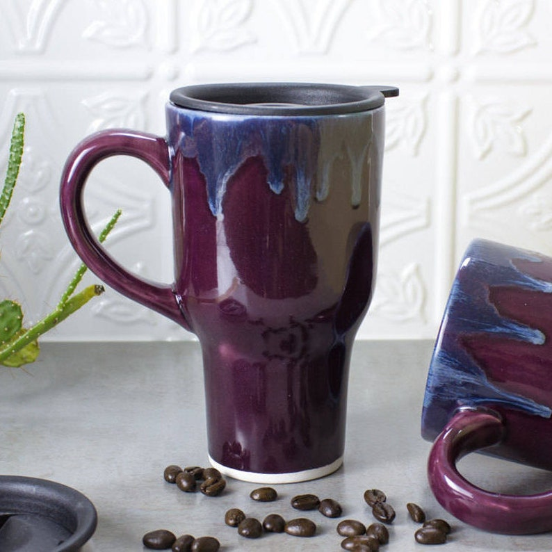 47d86325e3e Beautiful Ceramic Coffee Travel mug w handle Eggplant Purple | Etsy