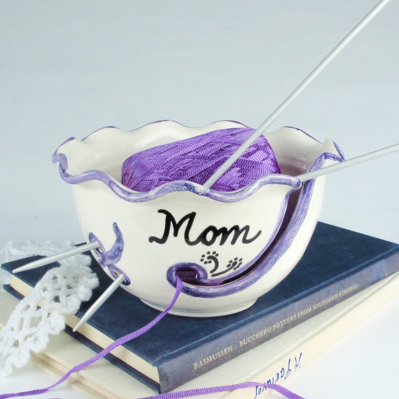 Yarn Bowl Personalized Custom crafty mom gift Ceramic Any Name image 0
