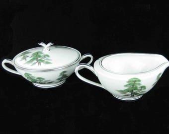 Noritake Ming Tree Sugar Bowl & Creamer Circa 1953 Pattern #5696