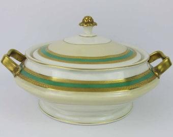Vintage Rosenthal Gold Encrusted & Green Band Covered Casserole/Vegetable #2698