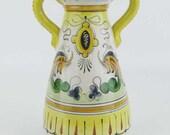 Deruta Italian Pottery Double Handled Vase Jug Signed Hand Painted