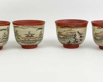 Japanese Hand Painted Red Clay Pottery Tea Cups Village Scene Signed (6)