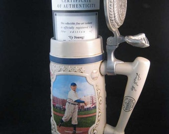 CY Young Legends Of Baseball Bradford Ceramic Stein Pewter 1994 W/COA