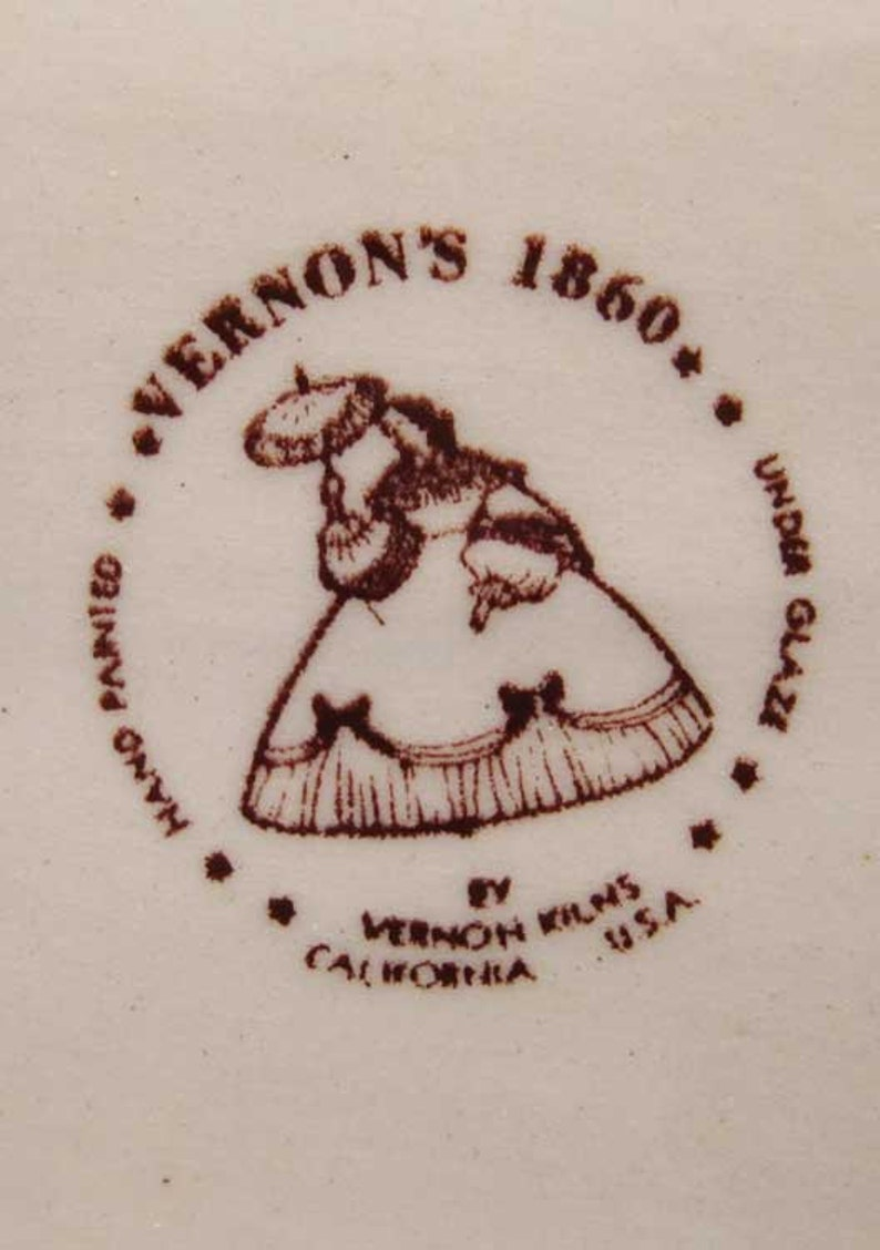 10 Vernon Kilns 1860 Poppytrail Oval Vegetable Bowl Circa 1940/'s Made In U.S.A