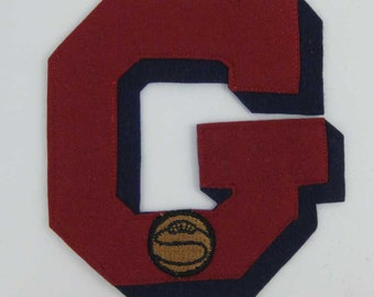 """Large Varsity Felt Letterman Jacket Basketball Patch """"G""""  Red & Blue Pacific Athletic Co."""