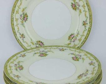 Vintage Noritake Arlene Dinner Plates (4) Circa 1930's