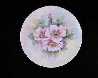 Vintage Hand Painted Bavarian Plate Pink Wild Roses Signed Emma 1961