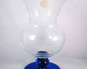Princess House Footed Crystal Vase Cobalt Blue Sapphire Made In Romania W/Tag