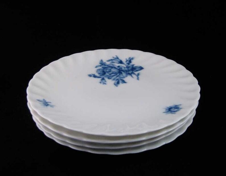 8 Circa 1950/'s Rheinpfalz Hartporzellan German Porcelain Blue Roses Salad Plates
