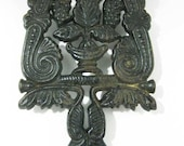 Antique Trivet Cast Iron Roses, Grapes Scrolls 3 Footed
