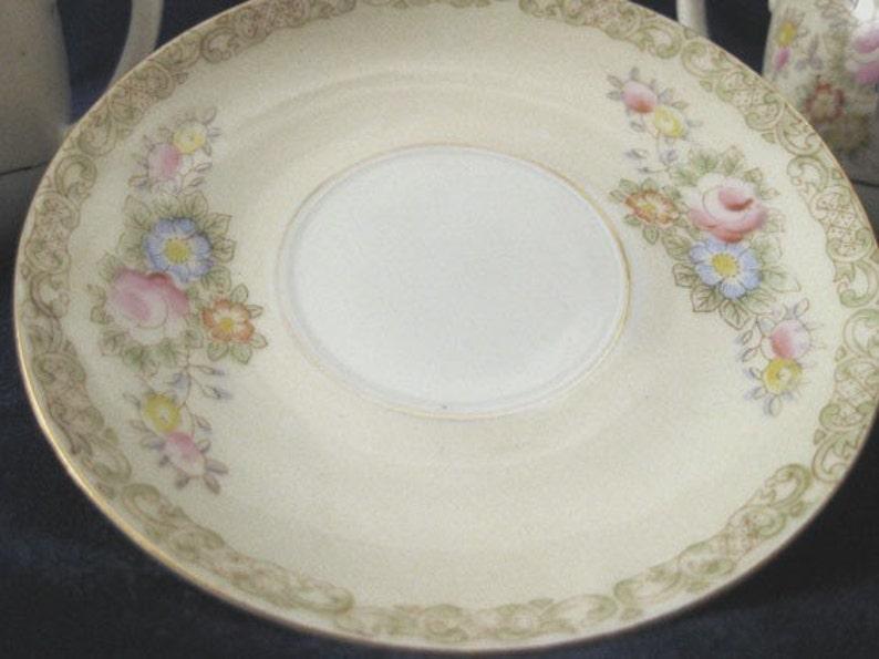 Vintage Occupied Japan  M.K China 7 Pieces Green Backstamp Creamer /& Sugar Bowl Plates
