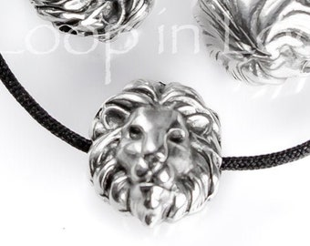 25%OFF Lion Head Slider Beads Antique Silver 12X10mm spacer bead Spacers for 1.5mm leather or cord rustic bohemian European zamak - pick qty