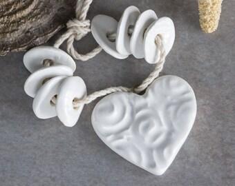 25%OFF Set of Ceramic Heart pendant 8 beads Bohemian Yoga Bead Love necklace clay heart pure white glaze charm blueroompottery Greek beads