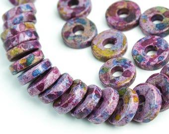 6x4mm Mykonos Greek Ceramic Mini Tube Beads Deco Purple #601 Select 50 or 100 Beads