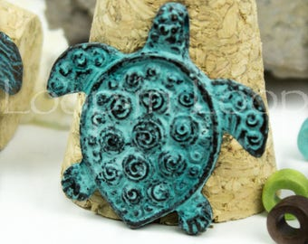25%OFF Mykonos turtle pendant green patina Spiral sea turtle Double sided, Nautical Greek Verdigris casting beads 30mm - 1pc
