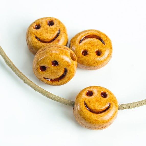 25off Ceramic Smiley Face Bead Happy Face Carved Smile Etsy